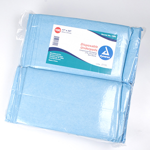 Underpad - Blue Disposable 23 x 24 100/pk, 2pk/cs